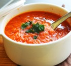 Суп-пюре из печеного красного перца