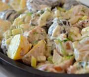 Картофельный салат с луком и ветчиной