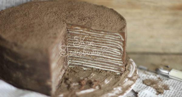 Шоколадный торт из блинов с амаретто