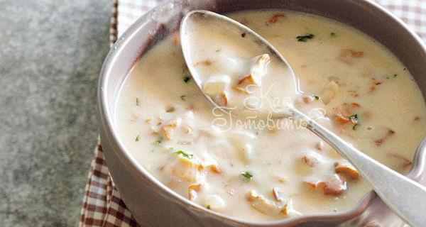 грибной суп из лисичек со сливками