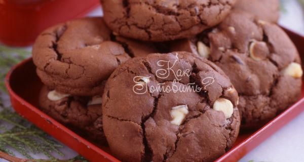 Тройное шоколадное печенье