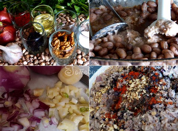 Протертая фасоль с грецкими орехами