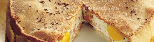 Итальянский пирог с яйцами и ветчиной
