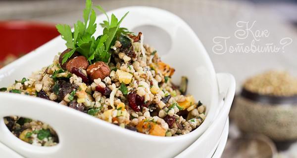 Салат с гречкой, козьим сыром и сухофруктами