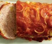 Мясной хлебец с сыром и яблоками