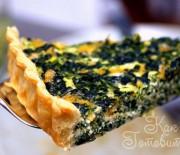 Открытый пирог с зеленью и фаршем